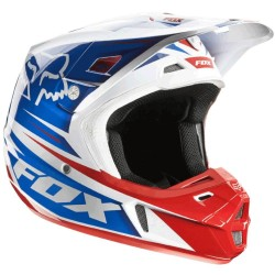 Casco V2 Race 2014 Blanco Rojo Azul