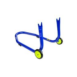 Caballete trasero para soporte de diabolos azul con ruedas amarillas