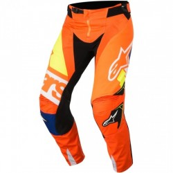 PANTALON ALPINESTARS TECHSTAR 2018 FACTORY ORANGE FLUO / BLUE / WHITE / YELLOW FLUO