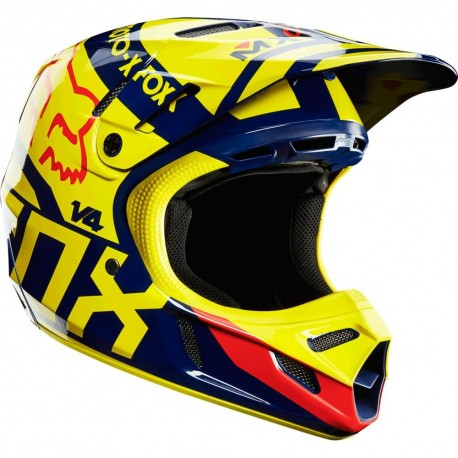 Casco Fox V4 Intake 2014 Amarillo / Azul