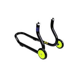 Caballete delantero universal a barras para horquillas perforadas Color negro y ruedas amarillas