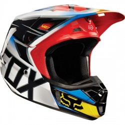 CASCO FOX V2 RACE 2015 NEGRO / ROJO