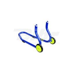 Caballete delantero Bihr para horquillas perforadas. Color azul y ruedas amarillas.