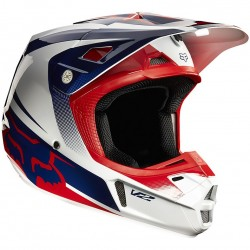 Casco Fox V2 Imperial 2015 blanco / azul / rojo