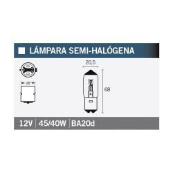 LAMPARA FARO / OPTICA CICLOMOTOR SEMIHALOGENA 45/40w.