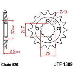 Piñon de ataque Jt Sprockets quads Honda / Polaris 14 Dientes