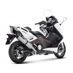Linea completa de escape Akrapovic Yamaha Tmax 500 / 530 Hexagonal Slip On Inox. Punta Carbono no homologado