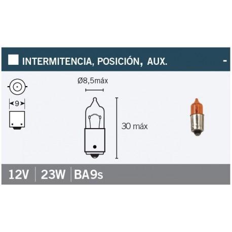 LAMPARA / BOMBILLA CON CASQUILLO INTERMITENCIA BAYONETA 9 mm. 12Vx23w. NARANJA *